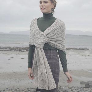 Aran Wool Pull Through Shoulder Wrap Shawl Cream